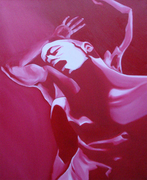 Erotic Males Dance Nudes Red Poster featuring the painting Rhythm by Davinia Hart