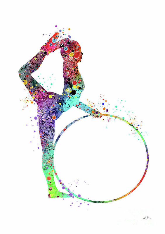 Rhythmic Gymnastics With Hoop Sports Print Watercolor