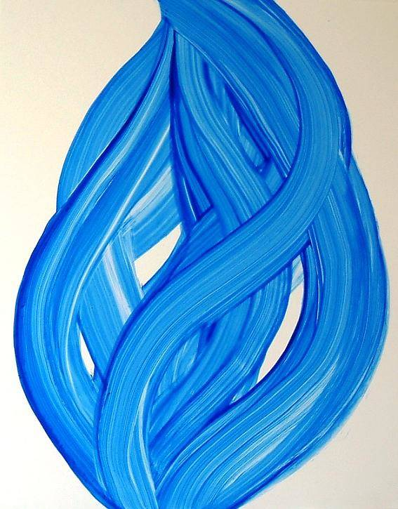 Abstract Modern Contemporary Yupo Art Painting Romantic Pop Blue Poster featuring the painting Ribbons of Love-Blue by Manjiri Kanvinde