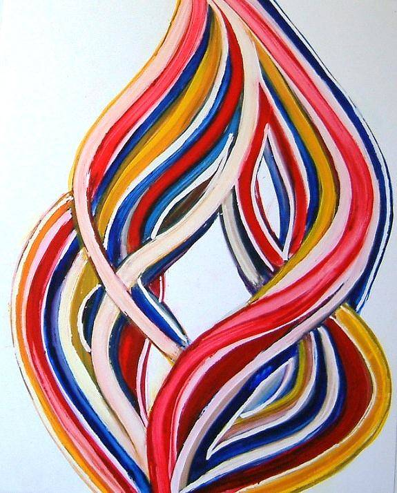 Abstract Modern Contemporary Pop Romantic Love Colourful Red Yellow Blue White Poster featuring the painting Ribbons Of Love-multicolour by Manjiri Kanvinde