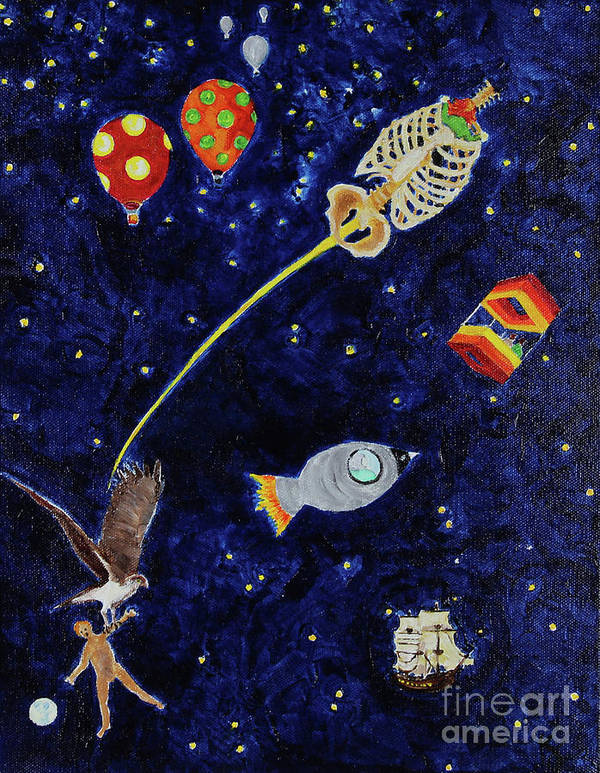 Acrylic Painting Poster featuring the painting Ribcage To The Stars by Katherine Fishburn
