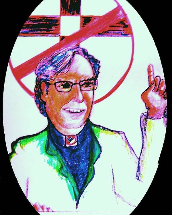 Atheist Poster featuring the drawing Richard Dawkins Loves To Preach by Richard Hubal