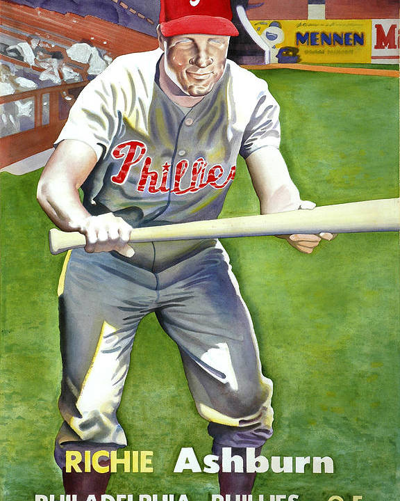 Baseball Art Poster featuring the painting Richie Ashburn Topps by Robert Myers