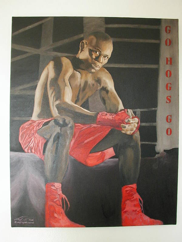 Portrait Poster featuring the painting Ringside With Jermain by Angelo Thomas
