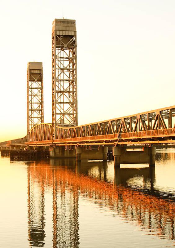 California Poster featuring the photograph Rio Vista Bridge Sunrise by Troy Montemayor