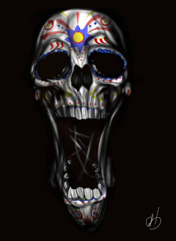Skull Poster featuring the painting R.i.p by Pete Tapang