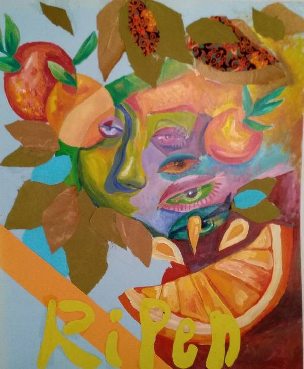 Orange Fruit Abstract Ripen Paint Acrylic Fabric Mixed Media Poster featuring the painting Ripen by Gabriela Magras