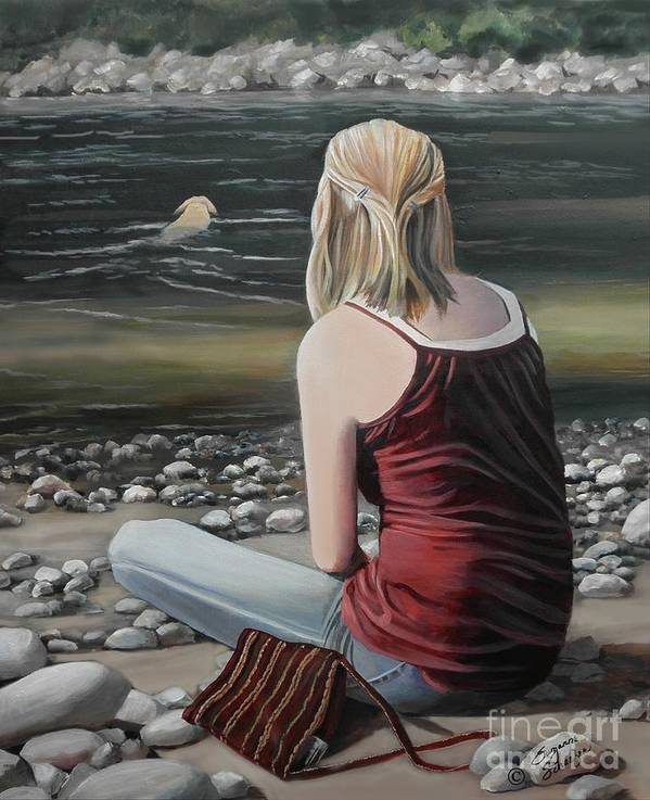 River Poster featuring the painting River Girl by Suzanne Schaefer