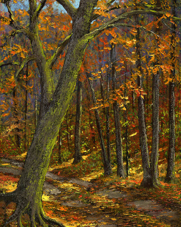 Landscape Poster featuring the painting Road In The Woods by Frank Wilson