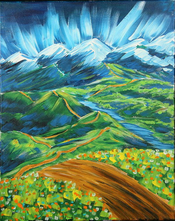 Flowers Poster featuring the painting Roads In The Wilderness by Gary Rowell