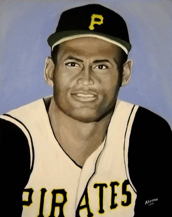 Roberto Poster featuring the painting Roberto Clemente by Edwin Alverio