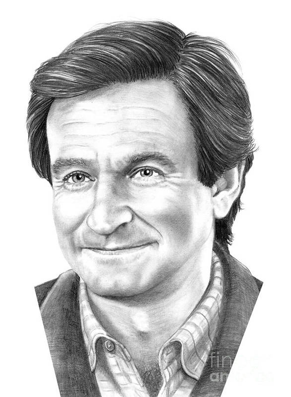Pencil Poster featuring the drawing Robin Williams by Murphy Elliott