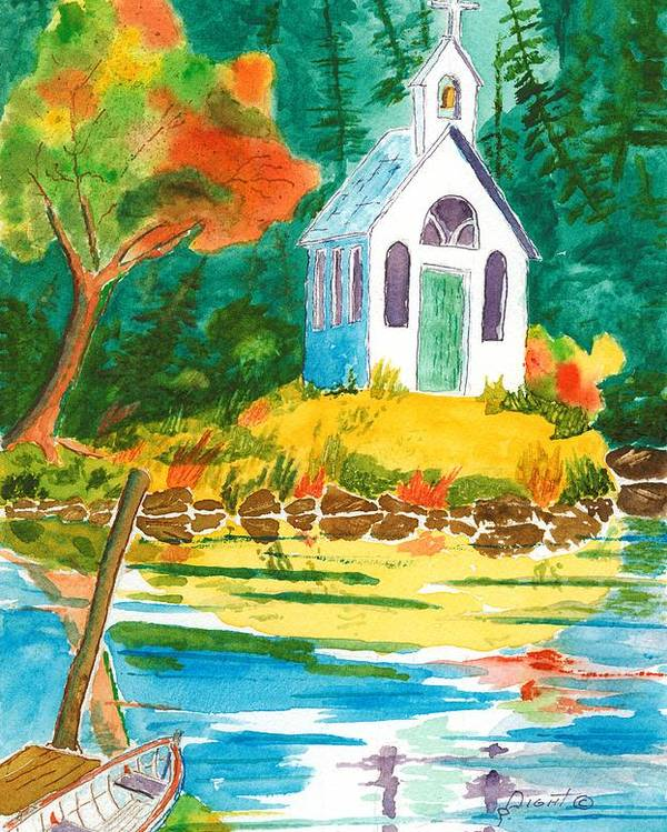 Chapel Poster featuring the painting Roche Harbor Chapel by Buster Dight