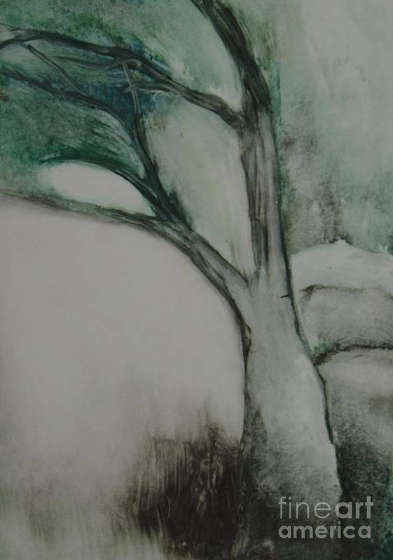 Monoprint Tree Rock Trees Poster featuring the painting Rock Tree by Leila Atkinson