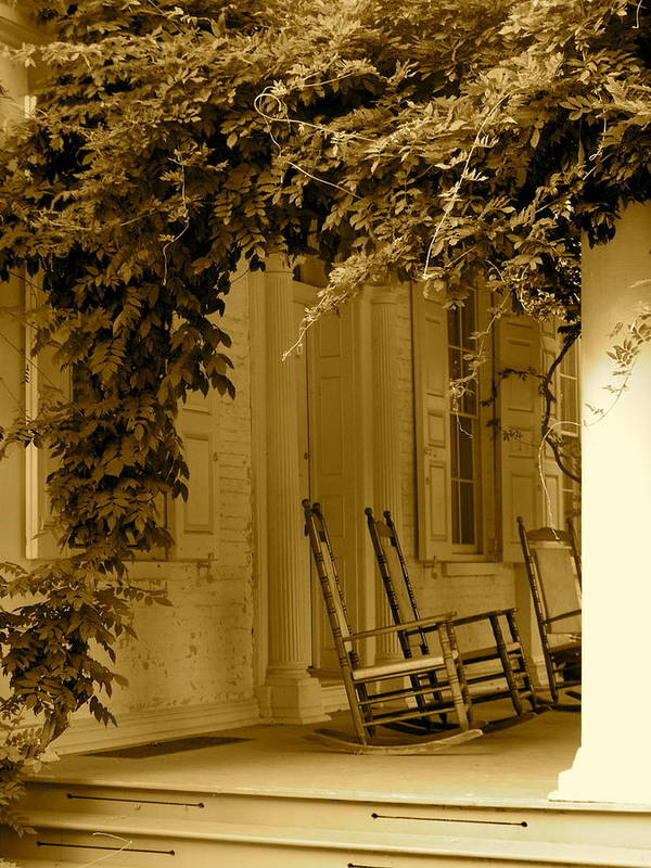 Rocking Chairs Poster featuring the photograph A Simple Life by Lauren Medina