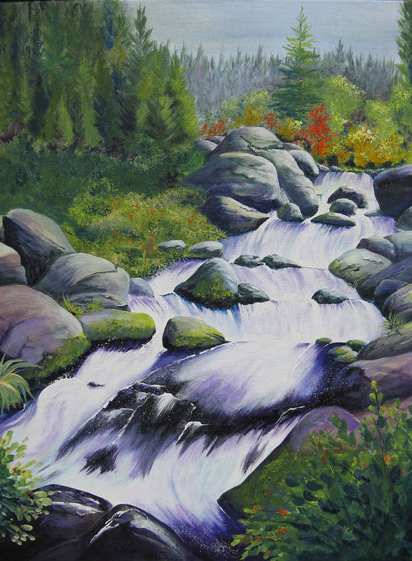 Waterfall Poster featuring the painting Rocky Creek by Karen Stark