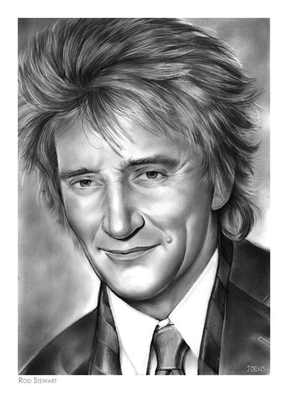 Rod Stewart Poster featuring the drawing Rod Stewart by Greg Joens