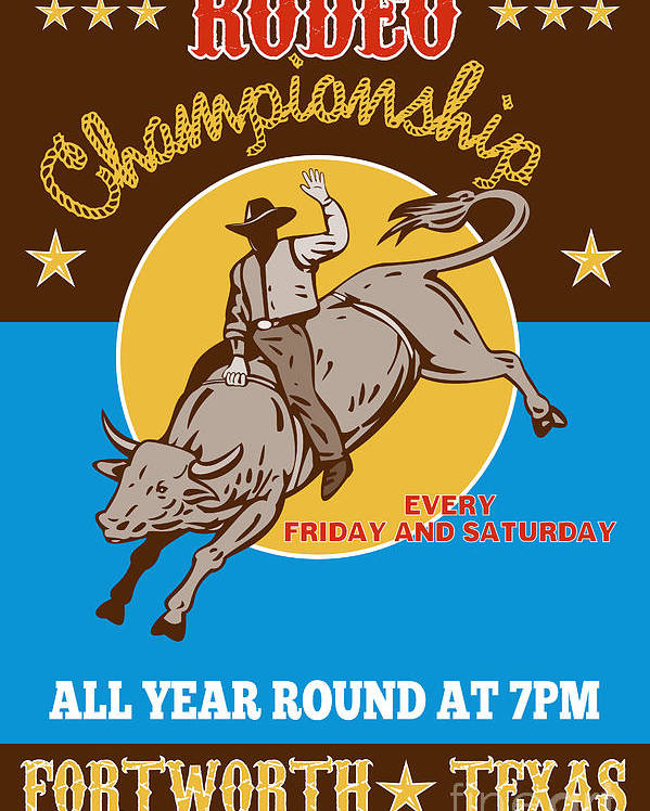 Rodeo Poster featuring the digital art Rodeo Cowboy Riding A Bull Bucking by Aloysius Patrimonio