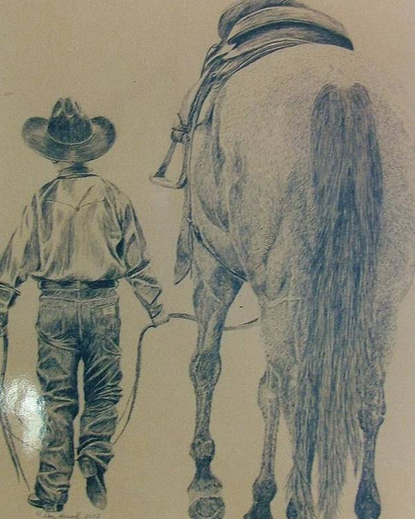 Horse Poster featuring the drawing Rodeo Star by Dan Hausel