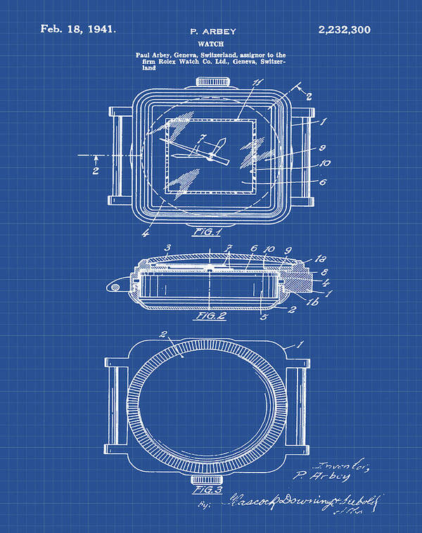 Rolex watch patent 1941 in blueprint poster by bill cannon rolex poster featuring the digital art rolex watch patent 1941 in blueprint by bill cannon malvernweather Gallery