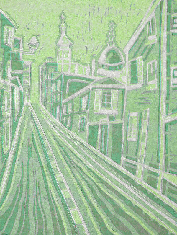 Original Paintings Poster featuring the painting Romantic Town In Green by Monica Smith