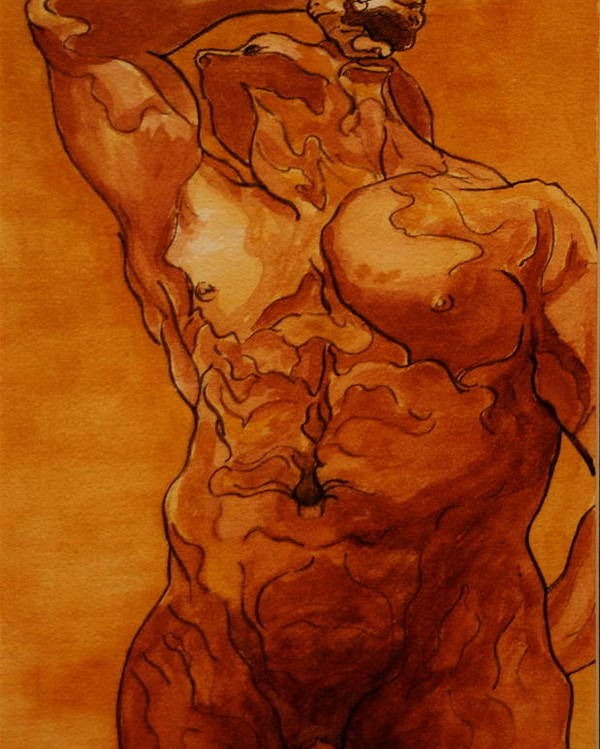 Male Nude Poster featuring the painting Rome Series Vi by Dan Earle