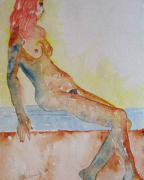 Nude Watercolor Painting Poster featuring the painting Romy - Seated by Roger Cummiskey