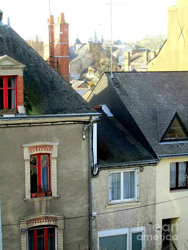 Townscape Poster featuring the photograph Rooftops, Chateaubriant by Jeanette Leuers