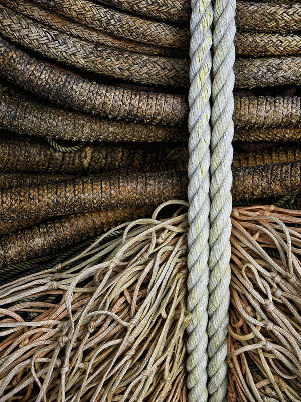 Fishing Poster featuring the photograph Ropes And Fishing Nets by Carol Leigh