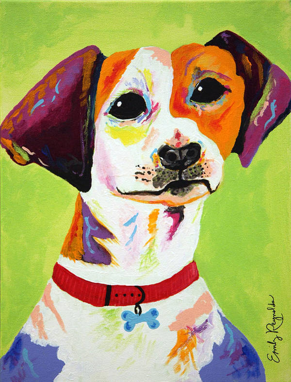 Dog Poster featuring the painting Roscoe The Jack Russell Terrier by Emily Reynolds Thompson