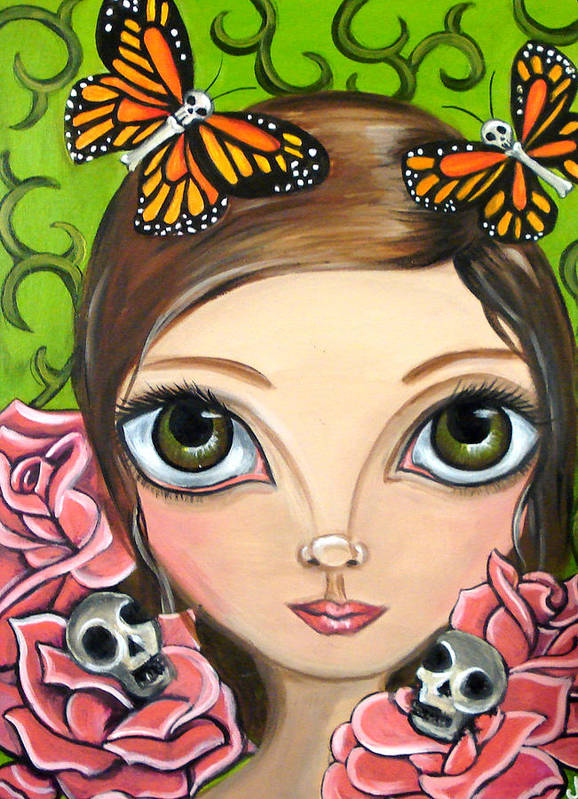 Big Poster featuring the painting Rose Amongst The Butterflies by Jaz Higgins