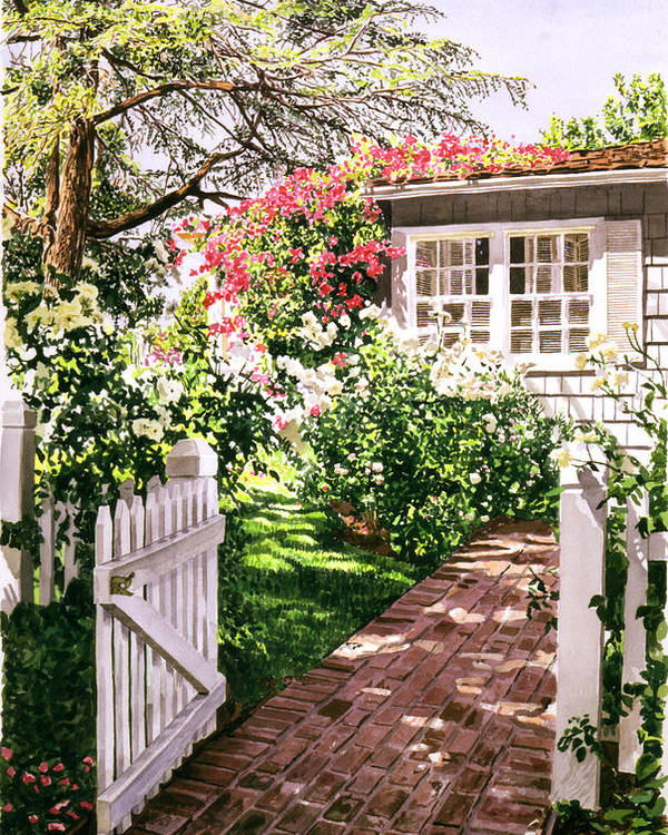 Gardens Poster featuring the painting Rose Cottage Gate by David Lloyd Glover