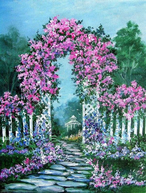 Roses;floral;garden;picket Fence;arch;trellis;garden Walk;flower Garden; Poster featuring the painting Rose-covered Trellis by Lois Mountz