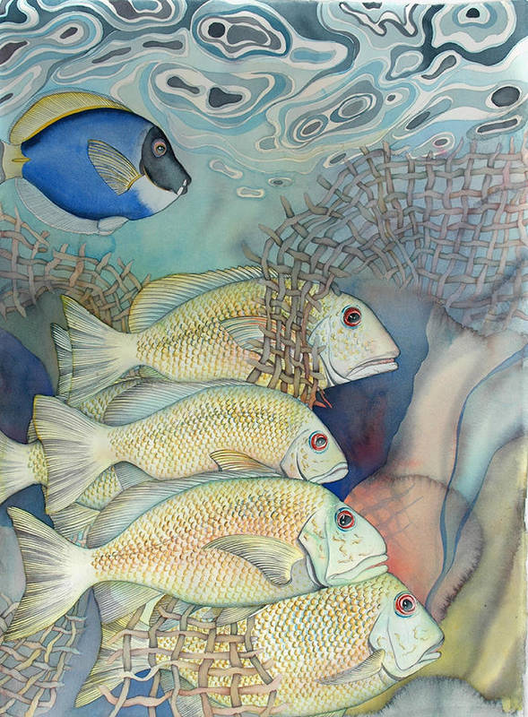 Sealife Poster featuring the painting Rose Island II by Liduine Bekman