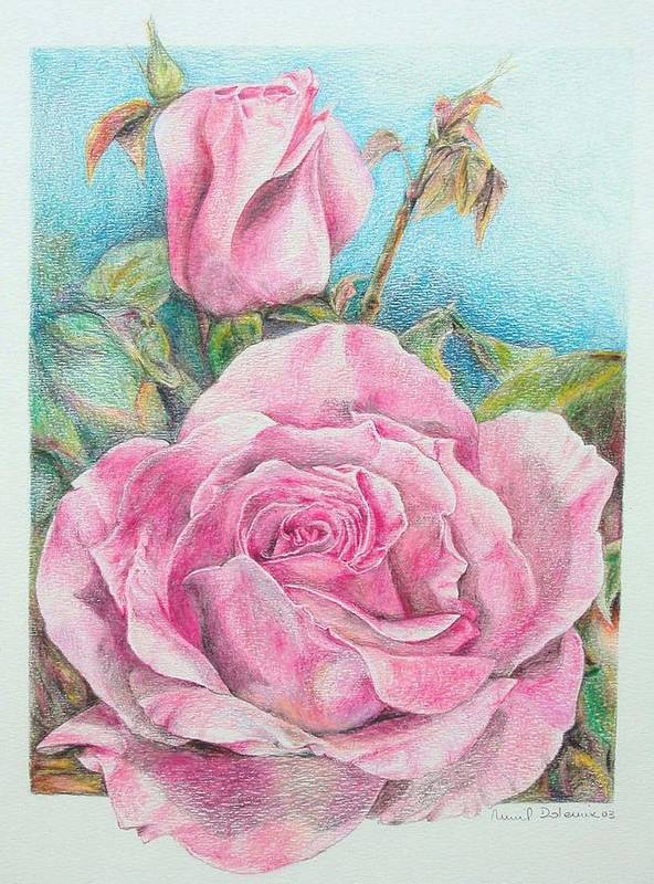 Flower Poster featuring the painting Rose by Muriel Dolemieux