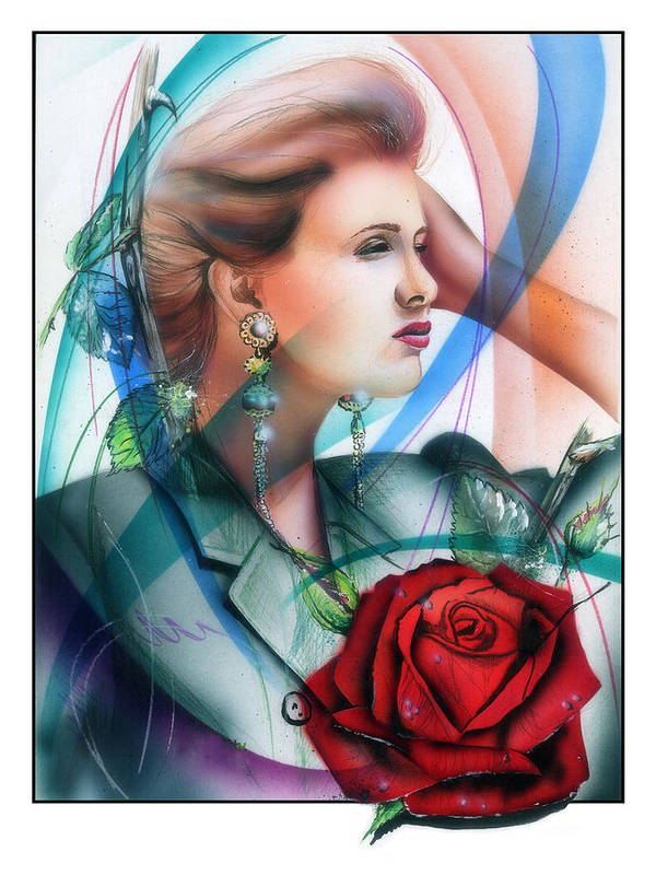 Girl Poster featuring the painting Rose by Nick Freemon