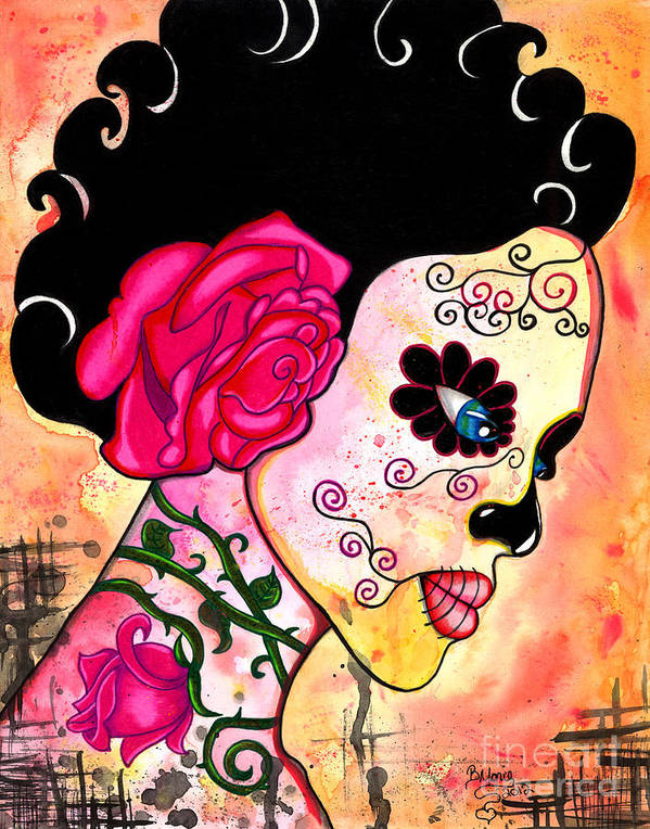 Sugar Skull Poster featuring the painting Rose Noose by B Marie