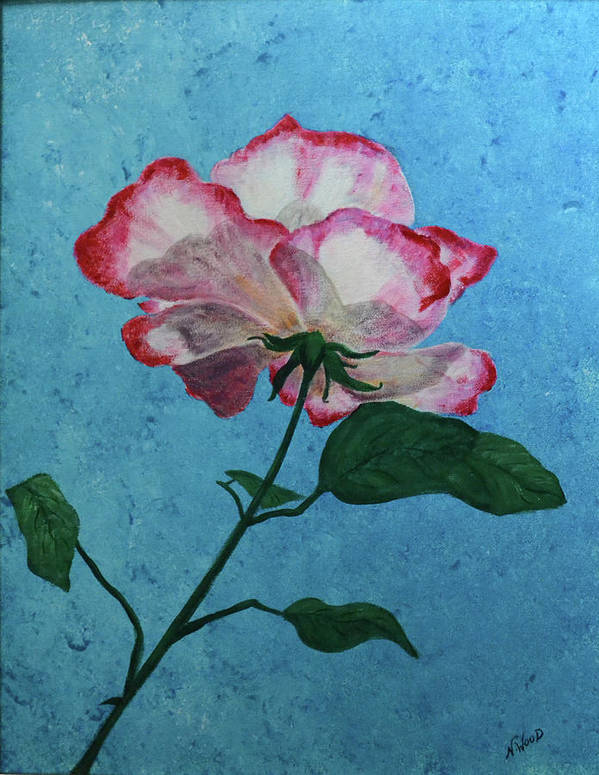 Flower Poster featuring the painting Rose On Blue by Nancy Sisco