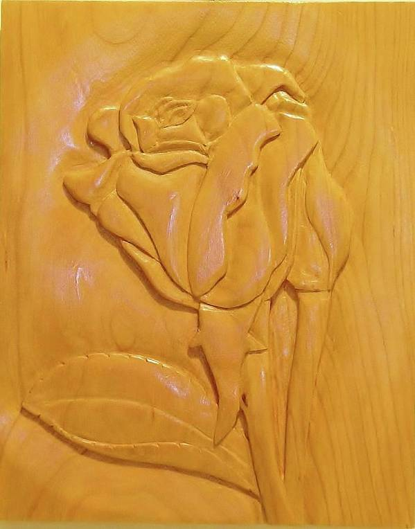 Woodcarving Poster featuring the sculpture Rose Relief by Russell Ellingsworth