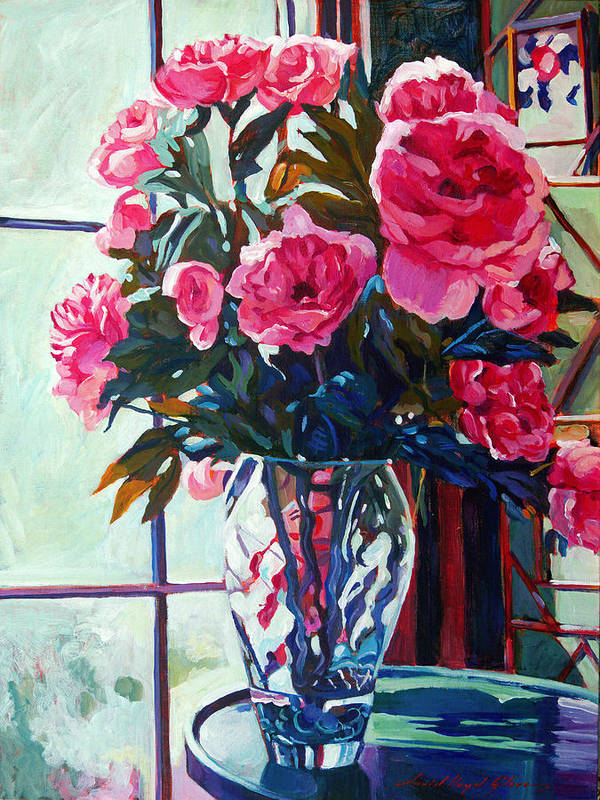 Still Life Poster featuring the painting Rose Symphony by David Lloyd Glover