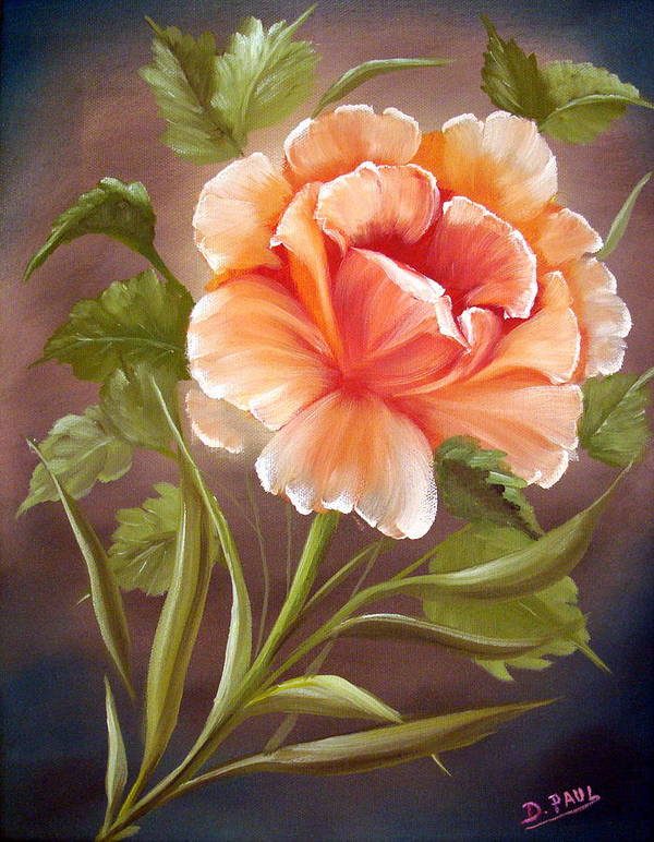 Rose Poster featuring the painting Rose Tropicana by David G Paul