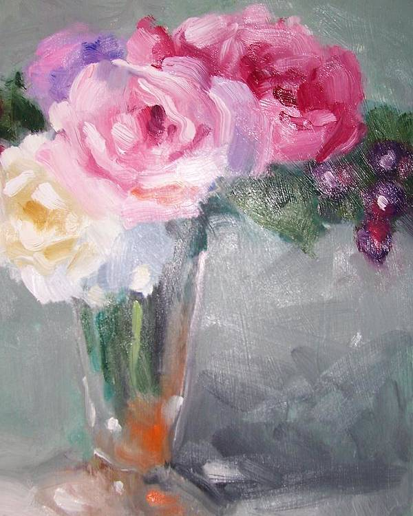 Stillife Poster featuring the painting Roses And Berries by Susan Jenkins