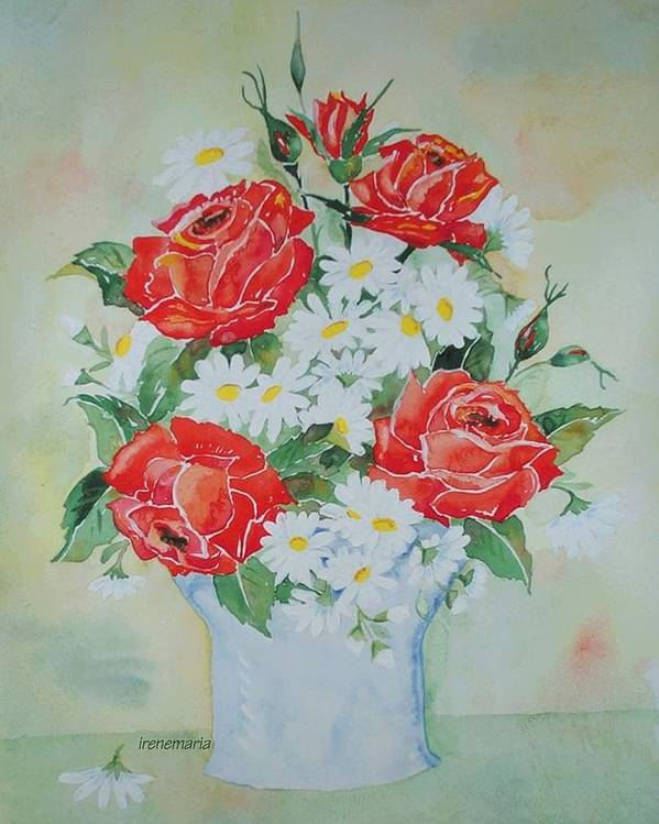 Roses Flowers Poster featuring the painting Roses And Daises by Irenemaria