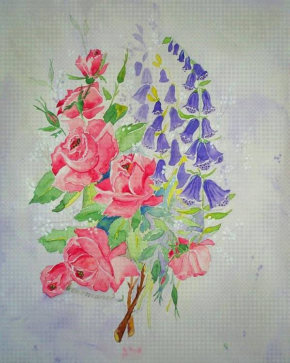 Roses Flowers Poster featuring the painting Roses And Digitalis by Irenemaria