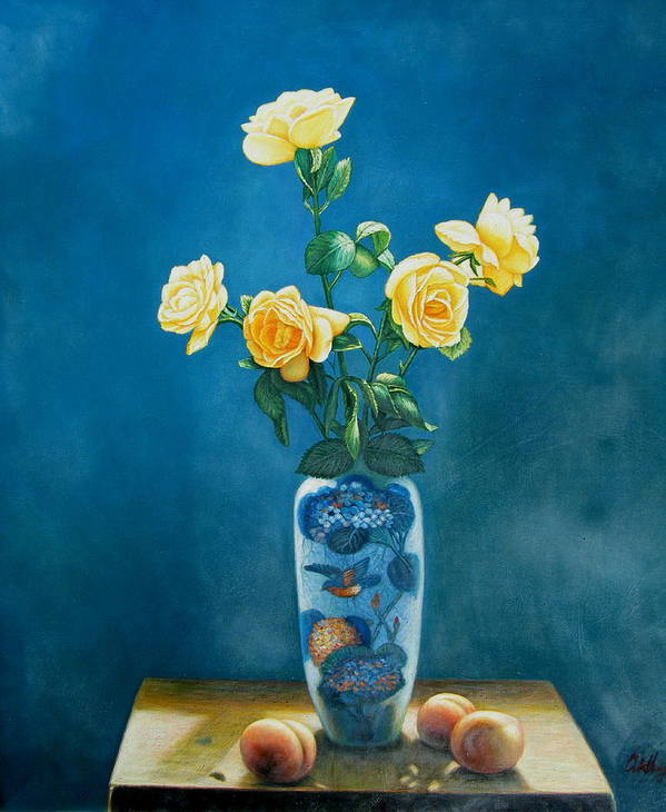 Still Life Flowers Poster featuring the painting Roses And Peaches by Imagine Art Works Studio