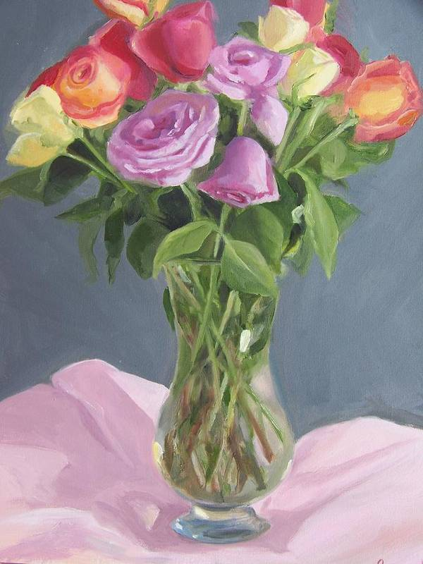 Roses Poster featuring the painting Roses From Life by Georgeanne Wayman