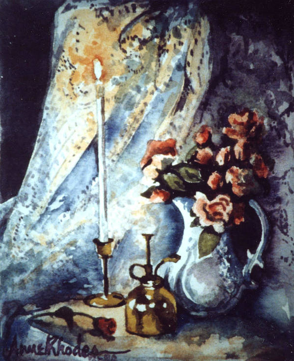 Miniature Poster featuring the painting Roses In Candllelight by Anne Rhodes