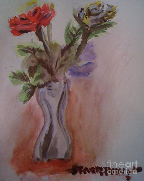 Watercolor Poster featuring the painting Roses by Stan Levine