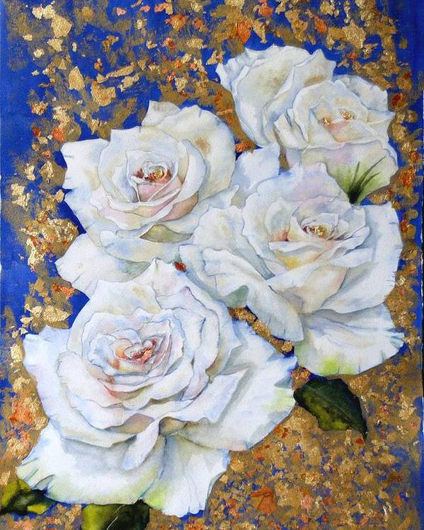 Rose Poster featuring the painting Roses With Gold Leaf by Diane Ziemski
