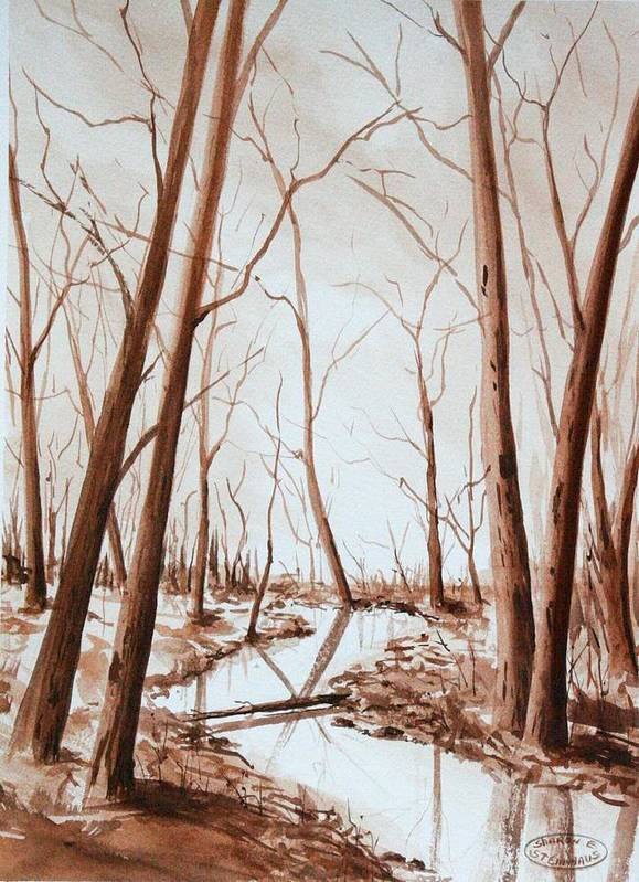 Sepia Watercolour Of Trees Poster featuring the painting Rotary Bog by Sharon Steinhaus